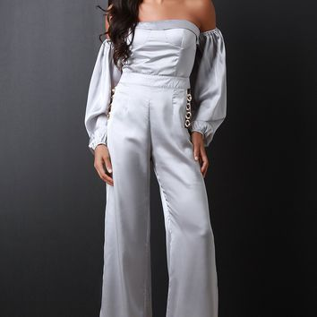 Womens Satin Bardot Jumpsuit