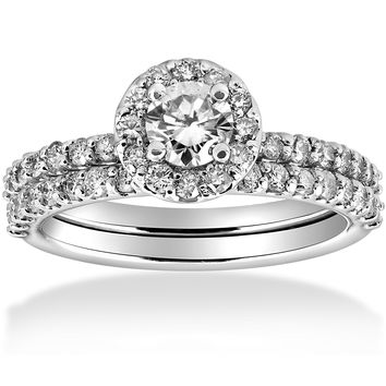 1 Carat Diamond Round Halo Engagement Wedding Ring Set