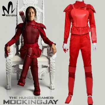Hunger Games 3 Katniss Everdeen Cosplay costume Red leather Katniss costume suit custom made Halloween costume for adult women