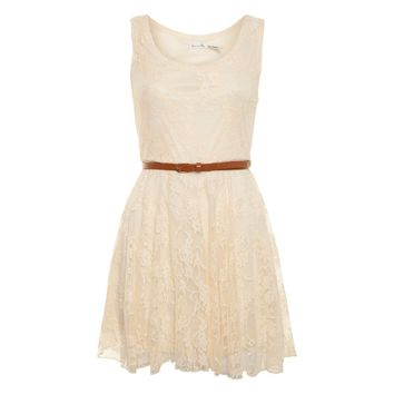 Love Milly Cream Sleeveless Lace Dress