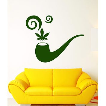 Vinyl Wall Decal Smoking Pipe Hemp Cannabis Hash Smoke Stickers (2784ig)