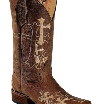 Circle G Women's Cross Embroidered Cowgirl Boot Square Toe - L5042
