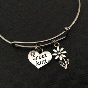 Great Aunt Charm Silver Bangle Silver Adjustable Wire Bangle Charm Bracelet Expandable Trendy