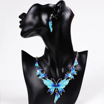 Fashion Clavicle Chain Short Necklace Enamel Drip Butterfly Sets Chain Big Texture Earrings Necklace Women Set