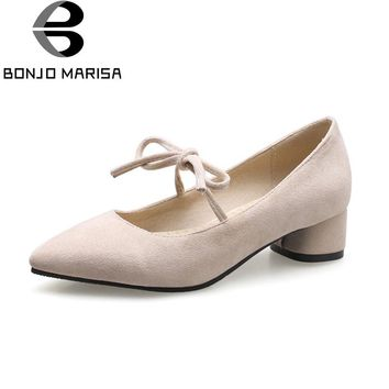 BONJOMARISA Women's Lace Up Bowtie Knot Shoes Woman Low Chunky Heels Pointed Toe Less Pumps Big Size 31-46