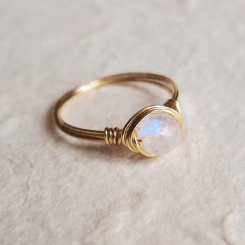 Brass Moonstone Ring