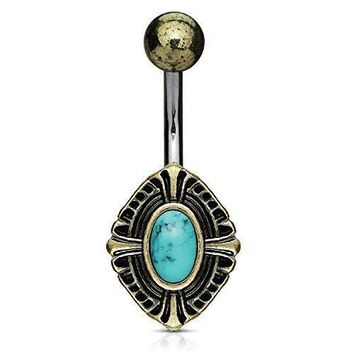 BodyJ4You Belly Ring Button Navel Bar Antique Shield Celtic Turquoise Stone Piercing Jewelry