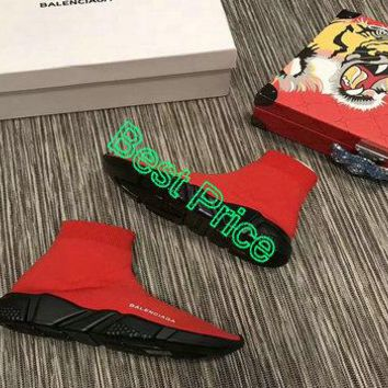 Latest Womens Balenciaga Speed Knit 2018 Fashion Trainers Face Red Contrasting Textured Black Sole fashion shoe