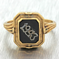 1943 Antique Art Deco 10k Solid Yellow Gold Rose Pink Coral Cameo Onyx Date Ring