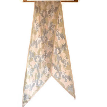 "Anne Klein Vera Silk Scarf,Made in Japan,72"" x 10"" Long Oblong Scarf with tapered Ends,Peach Grey Beige Vintage Scarf,Signed Designer Scarf,"