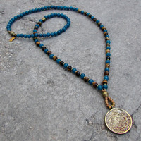 Clarity and Prosperity, genuine Sapphire Jade and Tiger's eye 108 mala necklace with Tibetan pendant