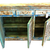 Antique Turquoise Blue patina Indian Chest intricate design Furniture Sideboard Buffets Vintage dresser