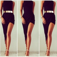 Black Asymmetrical Sleeveless Belted Bodycon Midi Dress