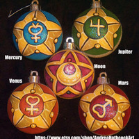 Sailor Moon Transformation Wand Locket Hand-Painted Christmas Ornaments - SOLD INDIVIDUALLY - See dropdown option menu for set option!