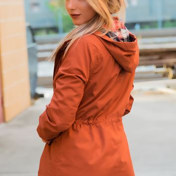 Flannel Lined Hood Utility Jacket - Rust