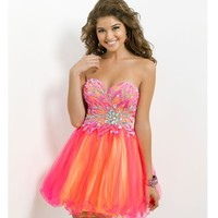 Blush 2014 Prom Dresses - Hot Pink & Yellow Strapless Short Prom Dress