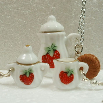 Coffee Time Pendant And Earring set.  Polymer clay