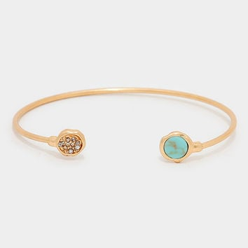 Circle Natural Stone Turquoise Cuff Bangle Bracelet - Gold / Turq