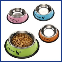 Stainless Steel Pet Feeding Bowl Anti-skid Pet Dog Cat Food Water Bowl Feeding Drinking Bowls  Pet's Supplies Tool Dia 11cm