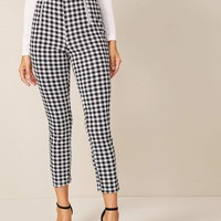 Zip Detail Gingham Skinny Pants