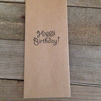 Happy birthday hand stamped favor bag