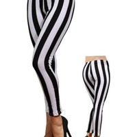 Black and White Vertical Striped Leggings Size Extra Small Gothic Goth Punk Rock