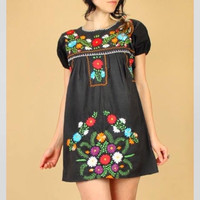 Mexican Traditional Embroidered Mini Dress Short Style Small / Medium