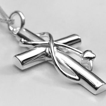 Cross Necklace, Infinity Heart Necklace, Infinity Cross Necklace, Sterling Silver Heart Necklace, Infinity Necklace, Double Heart Necklace