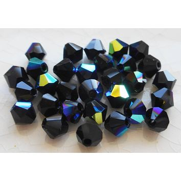 Lot of 24 4mm Czech opaque Jet Black AB glass faceted bicone beads, Preciosa Crystal black AB bicones 9401