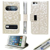 IZENGATE White Luxury Synthetic Leather Flip Case Cover with Backstand for Apple iPhone 5 5G:Amazon:Cell Phones & Accessories