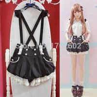 Kawaii Girls Lolita Suspender Lace Pumpkin Shorts Cute Lantern Pants Jumpsuits Rompers Pink&Black
