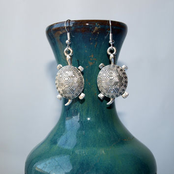 Tortoise earrings Turtle  charm earrings Coastal earrings Seahorse earrings Tropical earrings Silver turtle jewelry Cute earrings