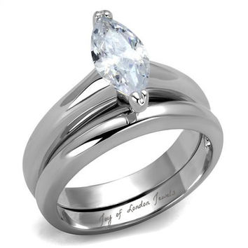 A Perfect 1CT Marquise Cut Solitaire Russian Lab Diamond Bridal Set Ring