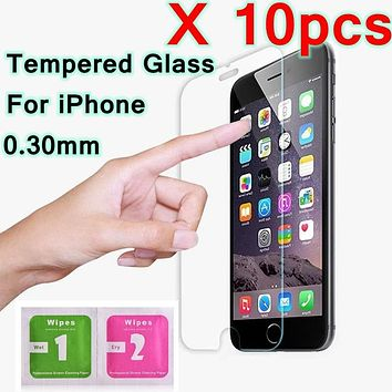 10pcs/Lot 9H tempered glass For iphone X Ten 10 8 Plus 4 4s 5 5s 5C SE 6 6s 7 plus screen Protective protector film Foam Package