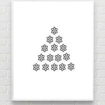 Instant Download Printable Christmas Print White Christmas Art Minimalist Scandinavian Christmas Decor Black White Holiday Art Monochrome