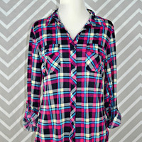 Country Backwoods Flannel - Pink/Navy