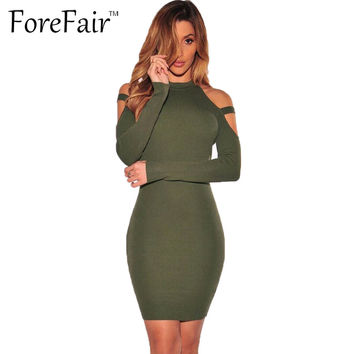 ForeFair Autumn Winter Sexy Off Shoulder Club Party Dresses  Women Long Sleeve Cotton Elastic Casual Bodycon Dress