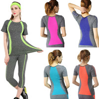 New Style Yoga Stripes top Gym Compression Women Sport T-shirts Dry Quick Running Short Sleeve Fitness Women's Clothes Tees tops - free shipping worldwide