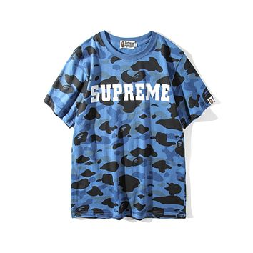 Supreme & Bape joint name spring and summer new loose camouflage shark T-shirt F-A-KSFZ Blue