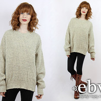 Vintage 90s Oatmeal Knit Pullover Oversized Sweater Oversized Knit Oatmeal Sweater Vintage Sweater Oversized Jumper Vintage Jumper