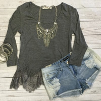 Waves of Lace Top: Grey