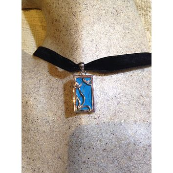 Vintage 925 Sterling Silver Real Persian Blue Turquoise Vine Pendant Necklace