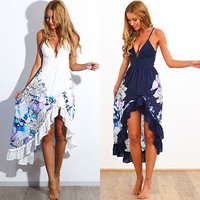 Sexy Women Summer  Dresses Strap Boho Print Evening Party  Long Maxi  Dress Beach Dresses Sundress