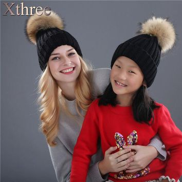 ONETOW Xthree real mink fur pom poms knitted hat ball beanies winter hat for women girl 's hat Skullies brand new thick female cap