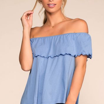 Alley Off The Shoulder Top - Blue