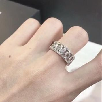 ZOZIRI famous brand new design jewelry ZIRCON alphabet letter AMOUR ring adjust cz stone open finger ring 925 silver jewelry