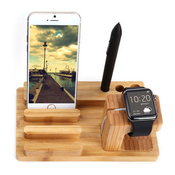 Luxury 100% Natural Wood Charging Dock Stand Phone Holder For Apple iPhone 6 6s Plus 5s 5c 5 SE 4s for iWatch iPad Bracket