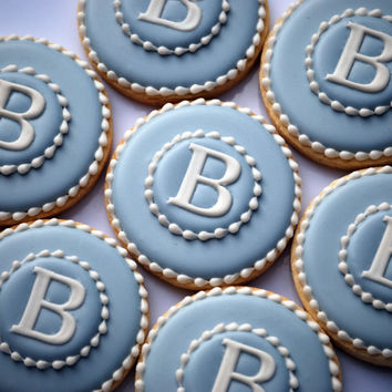 Elengant Blue & White Monogram Cookies - One Dozen Decorated Sugar Cookies