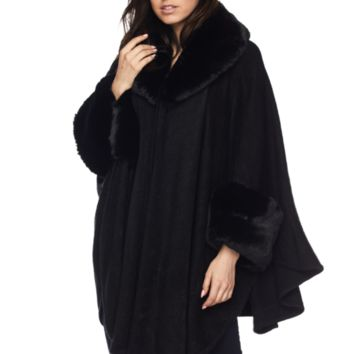 Stunning Faux Fur Trimmed Wrap