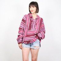 Vintage Burgundy Pink Baja Hoodie Woven Knit Ethnic Striped Poncho Pullover Jacket Boehmian Hippie Surfer Top 1990s 90s Grunge Boho L XL